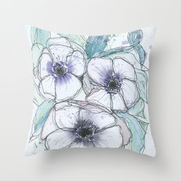 Anemone bouquet illustration watercolor and black ink painting Throw Pillow