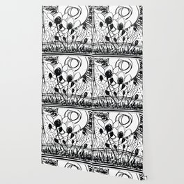 Scribble Doodle Flowers No.4A by Kathy Morton Stanion Wallpaper