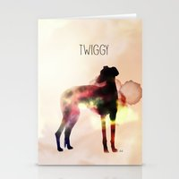 greyhound Stationery Cards featuring Twiggy greyhound by Ingrid Winkler