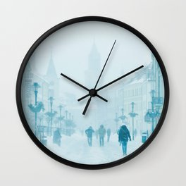 Foggy and snowy day Wall Clock
