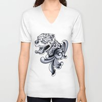 pit bull V-neck T-shirts featuring Ornamental Pit Bull by Pretty In Ink