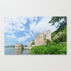 serbia country tourism landmark Golubac Fortress ruins architecture panorama Canvas Print