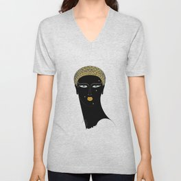 "Art Deco Design ""African Beauty"" Unisex V-Neck"