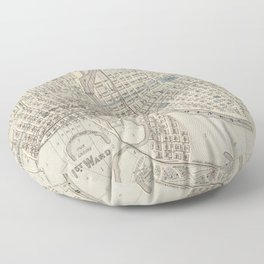 Vintage Map of Des Moines IA (1875) Floor Pillow