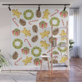 Christmas Watercolor Illustration Pattern Wall Mural