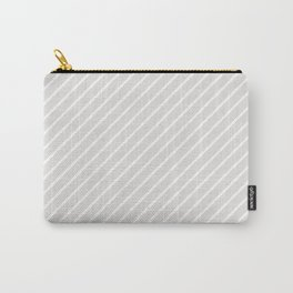 Diagonal Lines (White/Platinum) Carry-All Pouch