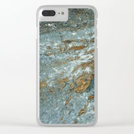 Earthy Blue and Gold Rock Clear iPhone Case
