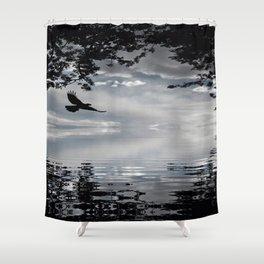 Storm Raven Lake Shower Curtain