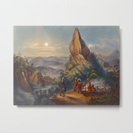 Ataraipu Or The Devil's Rock Illustrations Of Guyana South America Natural Scenes Hand Drawn Metal Print