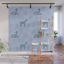 Deer and rabbit cute pattern - blue version Wall Mural