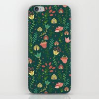 floral pattern iPhone & iPod Skins featuring Floral pattern by Julia Badeeva