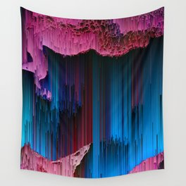 Cotton Candy - Abstract Glitchy Pixel ARt Wall Tapestry