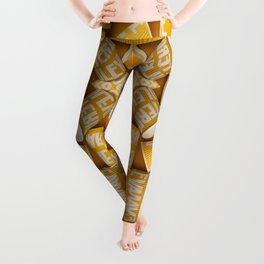 Yellow Paper Cups pattern Leggings