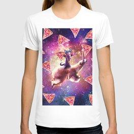 Thug Space Cat On Polar Bear Unicorn - Pizza T-shirt