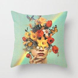 Baby's in bloom - Rainbow, flowers, birds & butterflies Throw Pillow