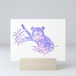 Purple panda silhouette Mini Art Print