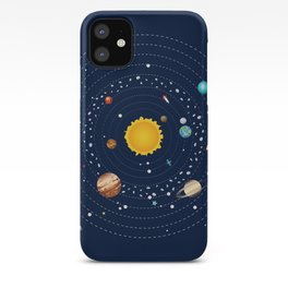 Cartoon illustration of solar system and planets around sun iPhone Case