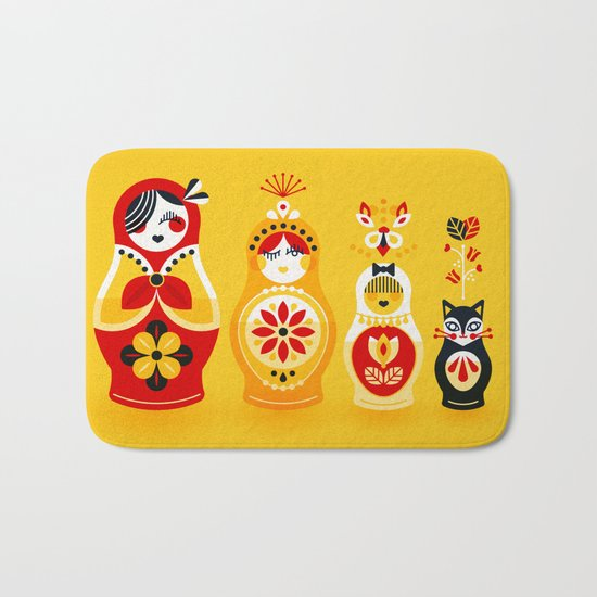 Russian Nesting Dolls – Yellow & Red Bath Mat