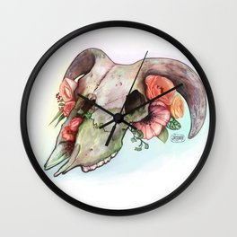 Goat skull & flowers Wall Clock