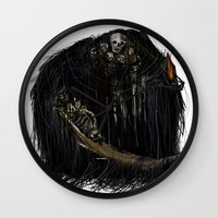 dark souls Wall Clocks featuring Gravelord Nito - Dark Souls by VerticalSynapse