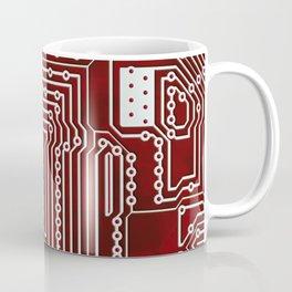 Red Geek Motherboard Circuit Pattern Coffee Mug