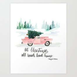 Christmas Vintage Car Print Art Print