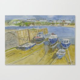 Port Erin Isle of Man watercolour print Canvas Print