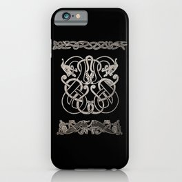 Old norse design - Two Jellinge-style entwined beasts originally carved on a rune stone in Gotland. iPhone Case