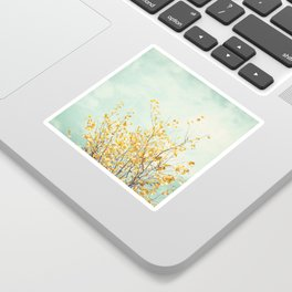 Yellow Tree Leaves Mint Sky Photography, Nature Turquoise Teal Gold Aqua Sticker