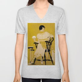 "Coles Phillips 'Fadeaway Girl' Dinnerware Ad ""A Cup Of Tea"" Unisex V-Neck"