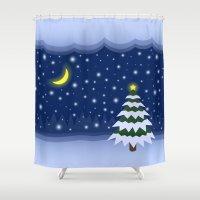 fairytale Shower Curtains featuring Christmas fairytale by Natalia Bykova