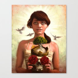 Woman holding skull with roses and a tree - Titled: Transitions Canvas Print