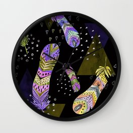 Abstract pattern with feathers 2. Wall Clock