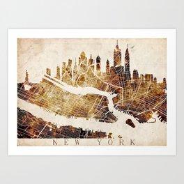 New York Skyline + map #4 Art Print