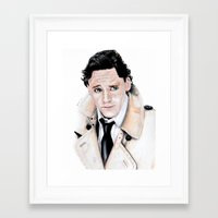 tom hiddleston Framed Art Prints featuring Tom Hiddleston by Calomiel