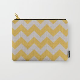 LIGHT GREY AND SPICY MUSTARD CHEVRON ZIG ZAG  Carry-All Pouch
