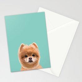 Pomeranian dog portrait minty cute art gifts for dog breed pom lovers Stationery Cards