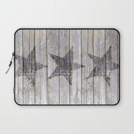 Grunge Star on old weathered grey wood Laptop Sleeve