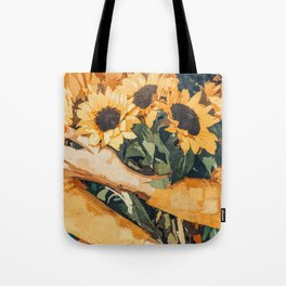 Holding Sunflowers #society6 #illustration #nature #painting Tote Bag