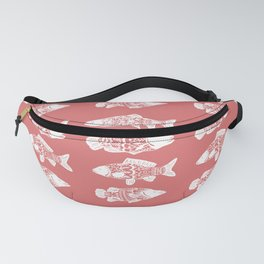 White Floral Fish Coral Pink Fanny Pack