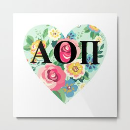 AOII HEART / Floral Metal Print