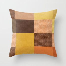 Fall Mustard Orange Golden Brown Checkered Gingham Patchwork Color Throw Pillow