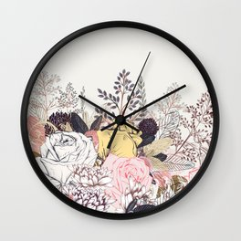 Miles and miles of rose garden. Retro floral pattern in vintag style Wall Clock