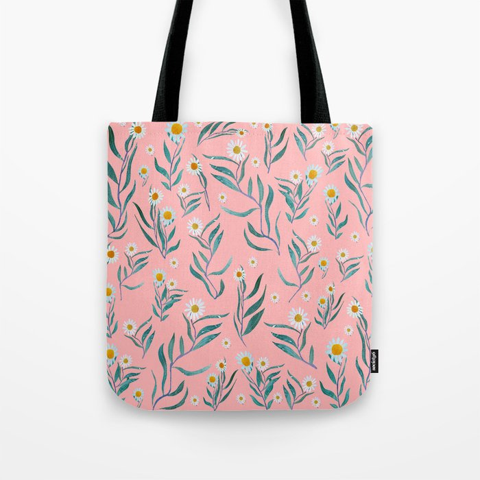 Pink white leaves Tote Bag