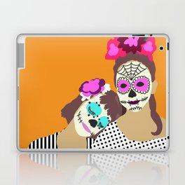 Sugar Skull Halloween Girls Orange Laptop & iPad Skin