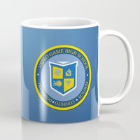 video game Mugs featuring THE CREST of video game high school  by studiomarshallarts