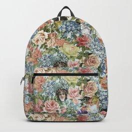 Vintage Botanical Flower Lady with Hut Pattern Backpack