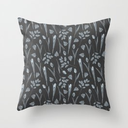 Modern botanical black gray watercolor floral Throw Pillow