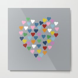 Hearts Heart Multi Grey Metal Print