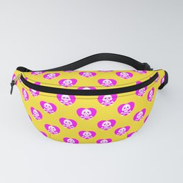 Skull heart pattern, punk rock skull, punk girl, love kills, yellow pink hearts, girly emo skull Fanny Pack